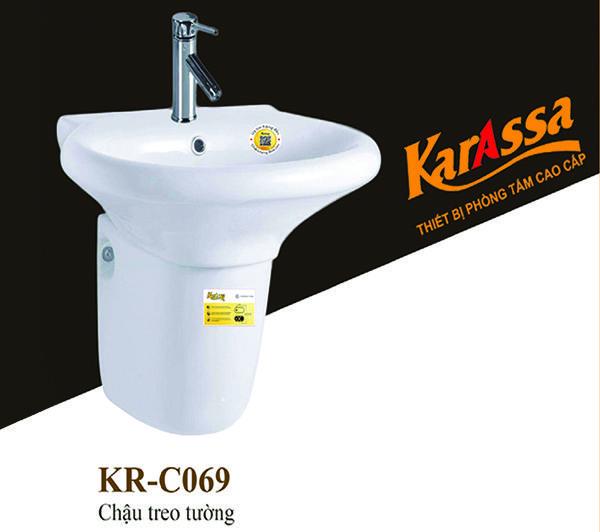 CHẬU LAVABO TREO TƯỜNG CHÂN LỬNG KARASSA KR-C069